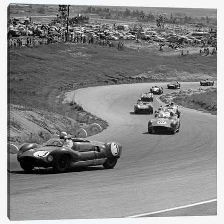1960s Auto Race On Serpentine Section Of Track With Spectators Watching From Small Hill Canvas Print #VTG404} by Vintage Images Canvas Art Print