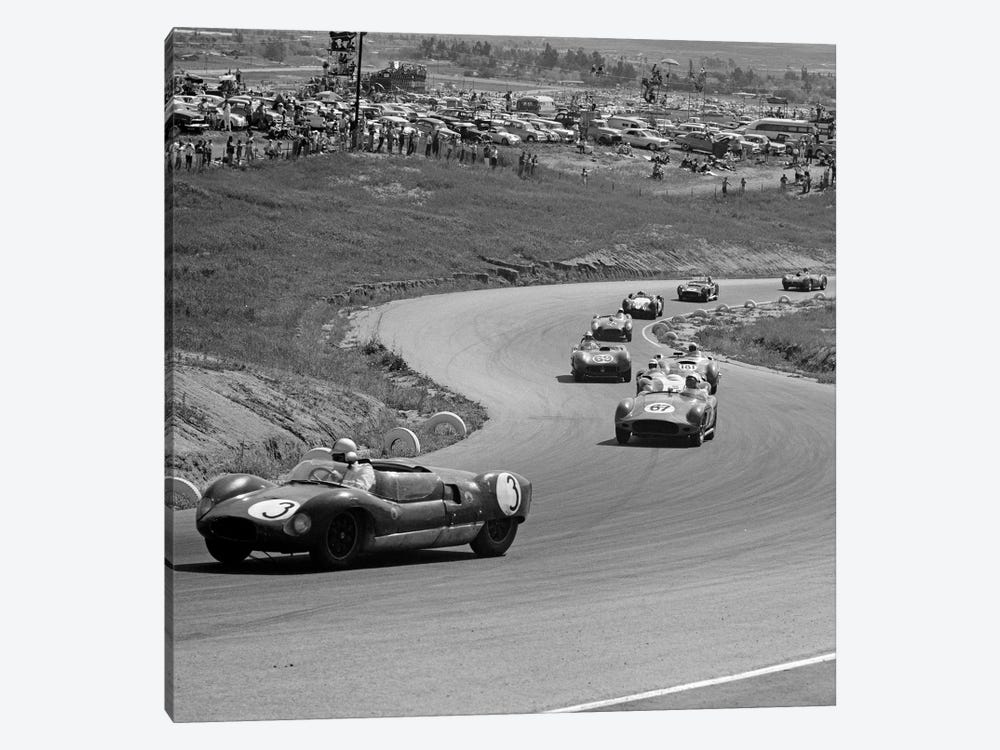 1960s Auto Race On Serpentine Section Of Track With Spectators Watching From Small Hill by Vintage Images 1-piece Canvas Art Print