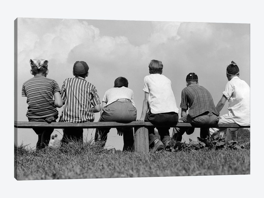 1960s Back View Of Six Anonymous Boy Baseball Players Sitting On Bench by Vintage Images 1-piece Canvas Art Print