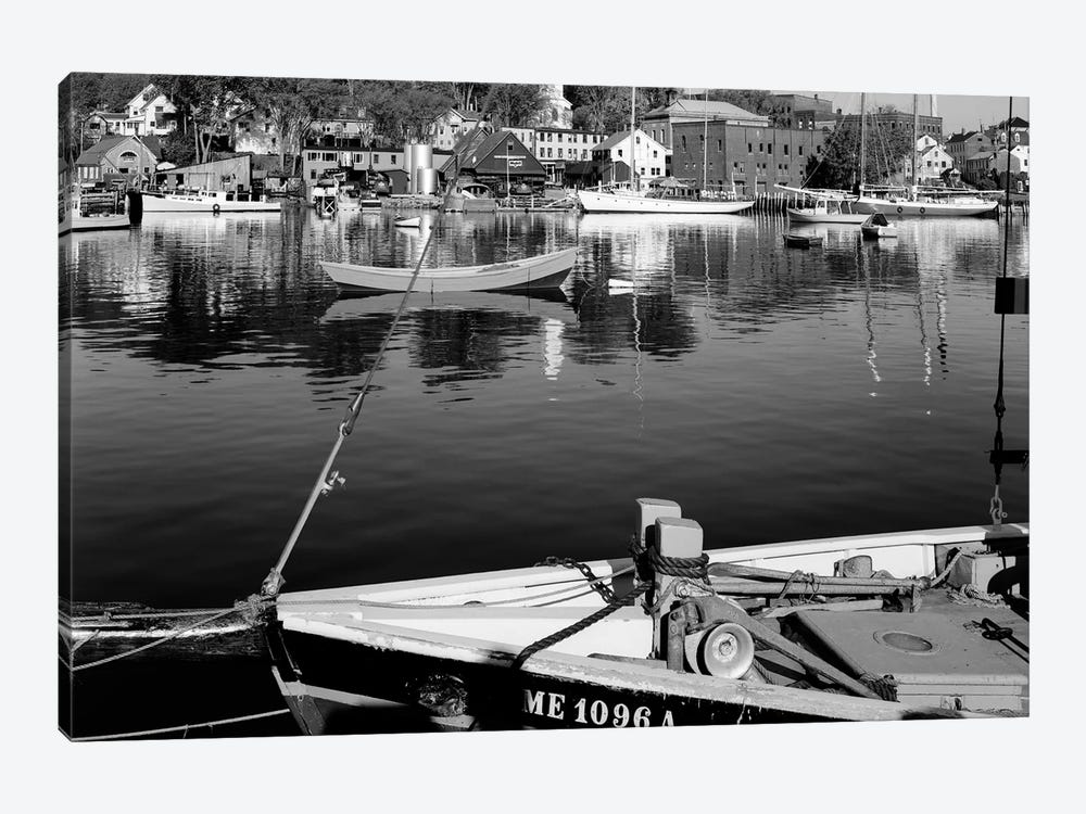 1960s Boats Dock Harbor Maine USA by Vintage Images 1-piece Canvas Artwork