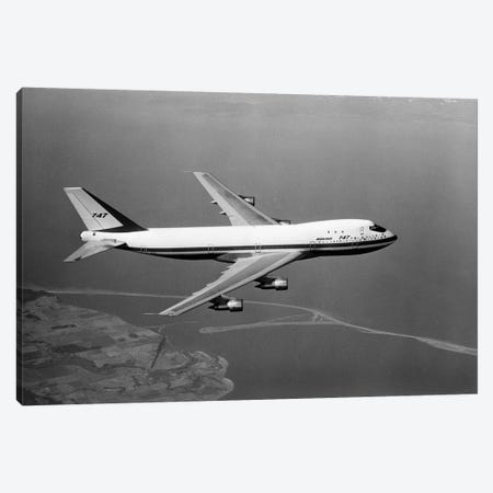 1960s Boeing 747 In Flight Canvas Print #VTG408} by Vintage Images Canvas Artwork