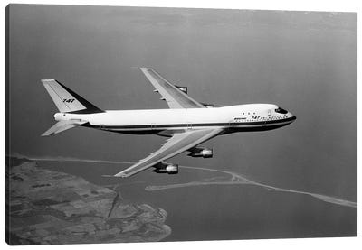 1960s Boeing 747 In Flight Canvas Art Print