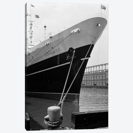 1960s Bow Of Leonardo Da Vinci Ship Tied Down To Dock With Man Scrubbing Retracted Anchor Canvas Print #VTG409} by Vintage Images Canvas Art