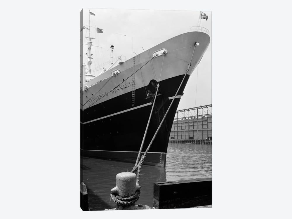 1960s Bow Of Leonardo Da Vinci Ship Tied Down To Dock With Man Scrubbing Retracted Anchor by Vintage Images 1-piece Canvas Artwork