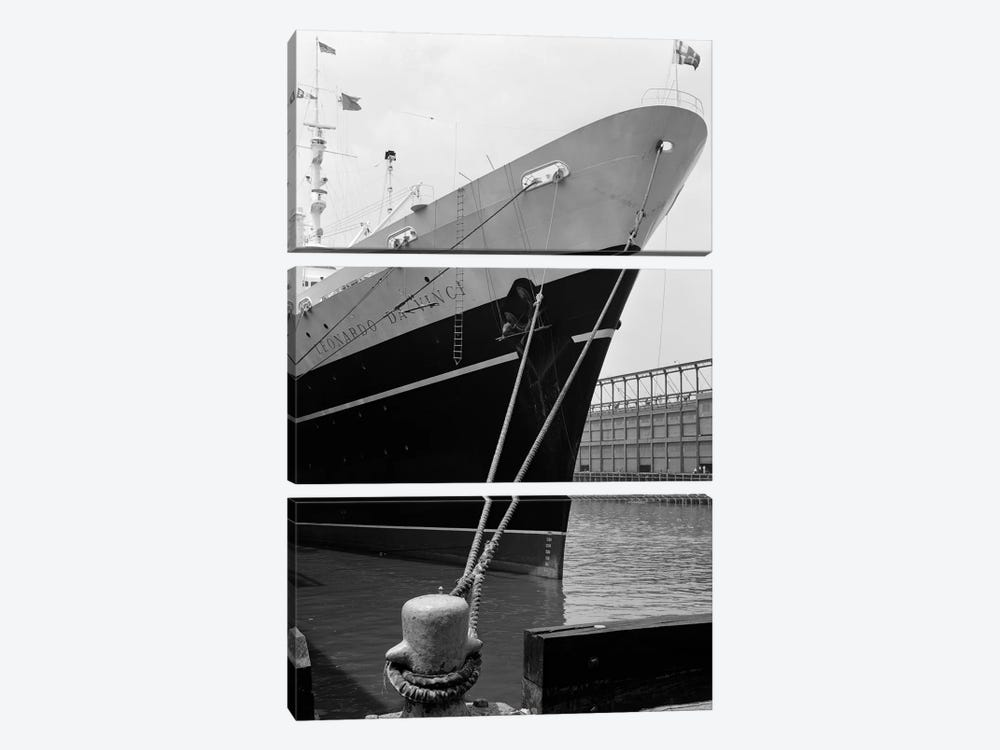 1960s Bow Of Leonardo Da Vinci Ship Tied Down To Dock With Man Scrubbing Retracted Anchor by Vintage Images 3-piece Canvas Wall Art