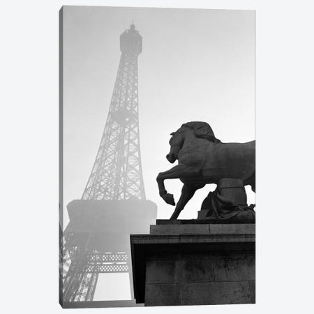 1920s Horse Statue At Base Of Eiffel Tower Paris France Canvas Print #VTG40} by Vintage Images Canvas Wall Art
