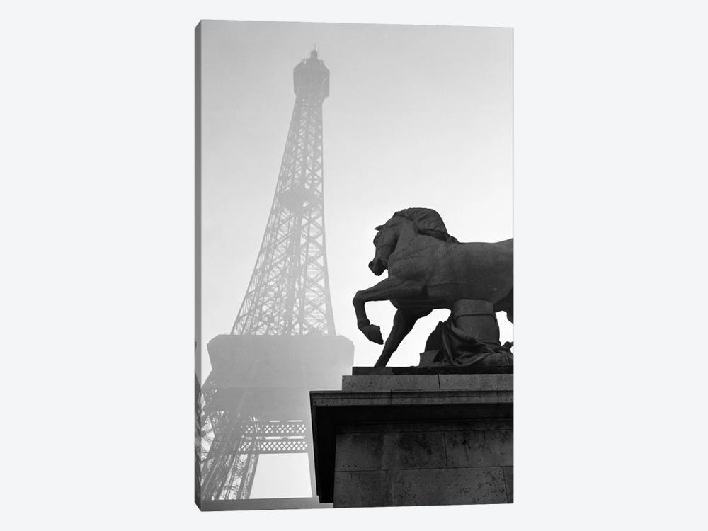 1920s Horse Statue At Base Of Eiffel Tower Paris France by Vintage Images 1-piece Canvas Wall Art