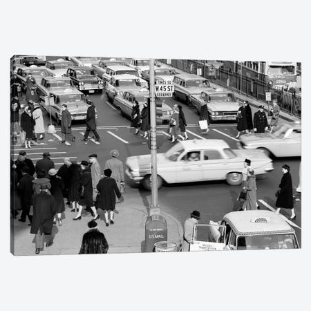 1960s Busy Intersection Cars Traffic Pedestrians Times Square Broadway And West 45Th Street New York City USA Canvas Print #VTG410} by Vintage Images Canvas Art Print