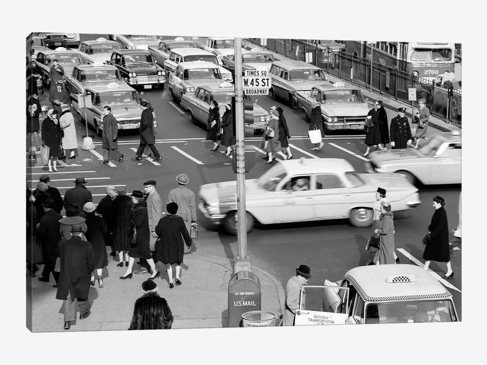 1960s Busy Intersection Cars Traffic Pedestrians Times Square Broadway And West 45Th Street New York City USA by Vintage Images 1-piece Canvas Art