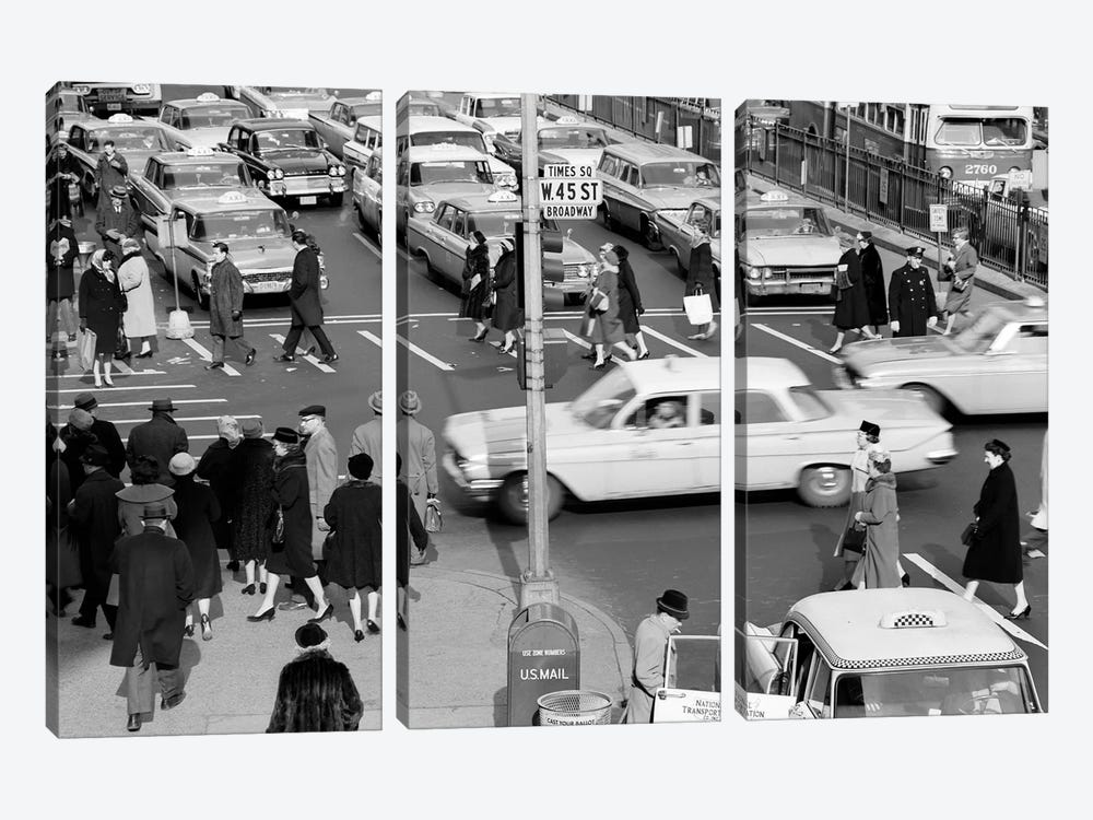 1960s Busy Intersection Cars Traffic Pedestrians Times Square Broadway And West 45Th Street New York City USA by Vintage Images 3-piece Canvas Artwork