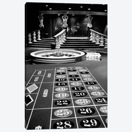 1960s Casino Viewed From End Of Roulette Table Opposite Of Wheel Looking Toward Statues Of Female Showgirls Canvas Print #VTG412} by Vintage Images Art Print