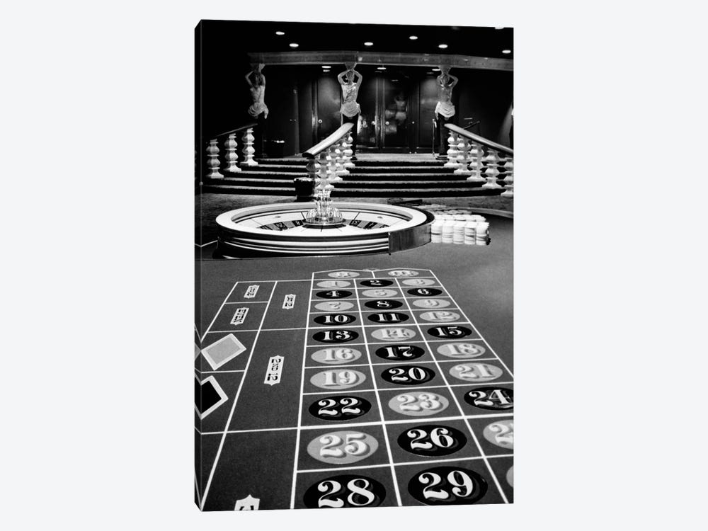 1960s Casino Viewed From End Of Roulette Table Opposite Of Wheel Looking Toward Statues Of Female Showgirls by Vintage Images 1-piece Canvas Wall Art