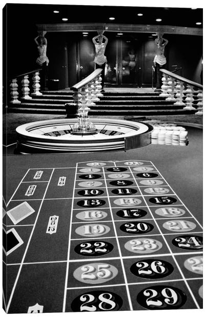 1960s Casino Viewed From End Of Roulette Table Opposite Of Wheel Looking Toward Statues Of Female Showgirls Canvas Art Print