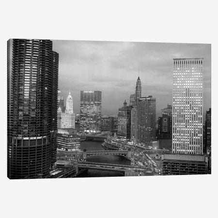 1960s Chicago River Bridges And Downtown Skyline At Dusk Chicago Il USA Canvas Print #VTG413} by Vintage Images Canvas Print