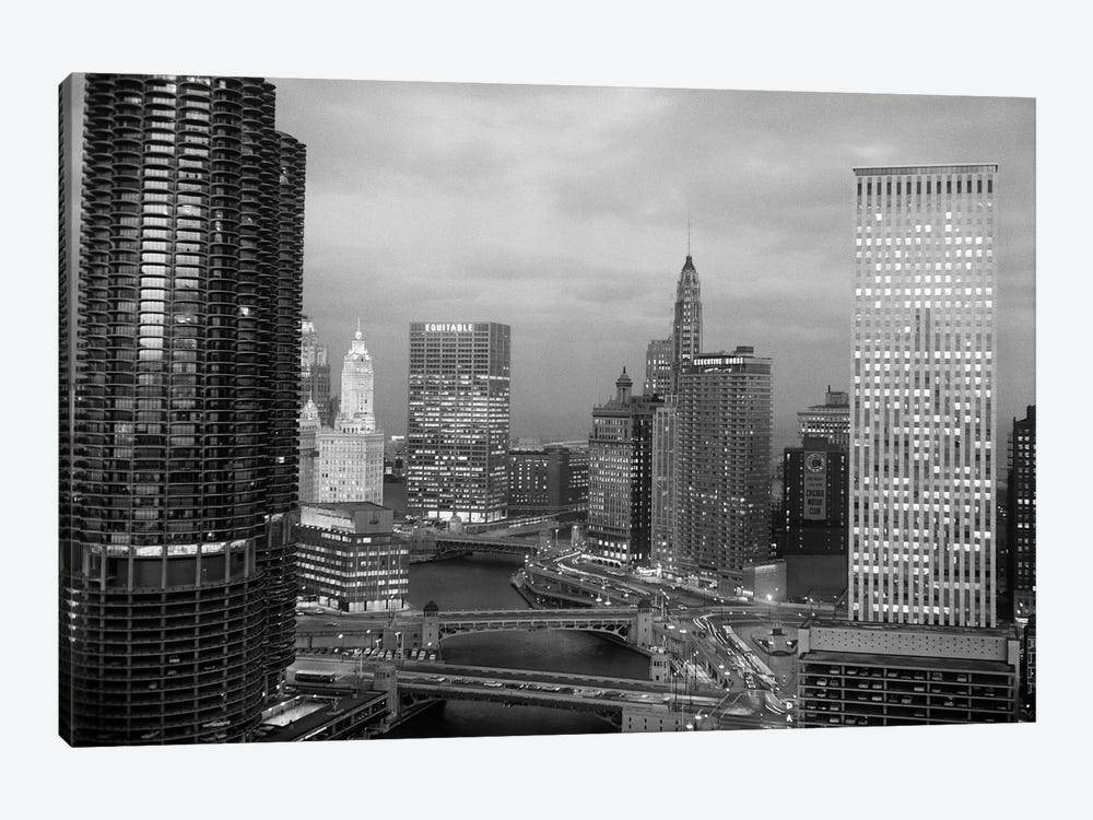 1960s Chicago River Bridges And Downtown Skyline At Dusk Chicago Il USA by Vintage Images 1-piece Canvas Print