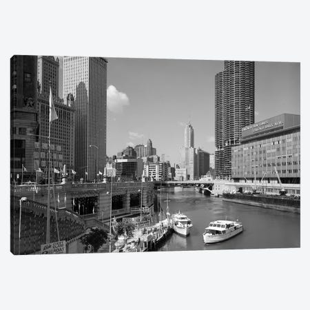 1960s Chicago River From Michigan Avenue Sun Times Building On Right And Boats In River Canvas Print #VTG414} by Vintage Images Canvas Artwork