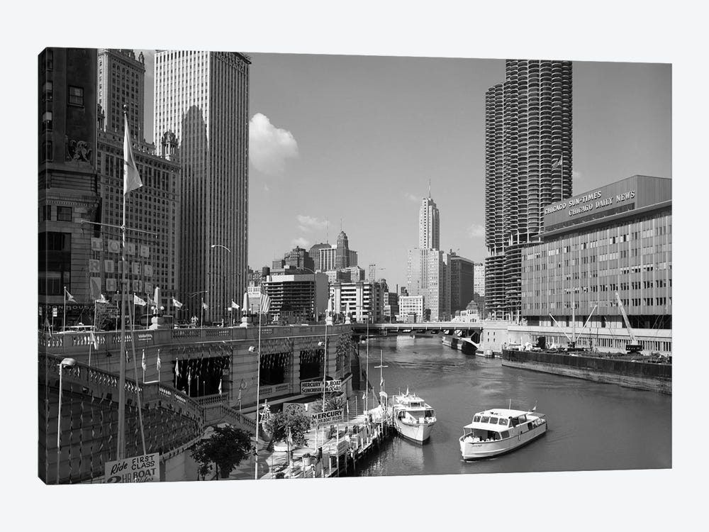 1960s Chicago River From Michigan Avenue Sun Times Building On Right And Boats In River by Vintage Images 1-piece Canvas Wall Art