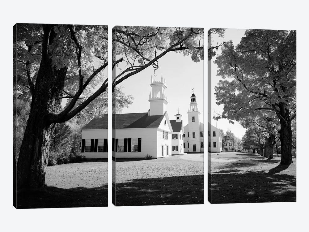 1960s Church And Local Buildings In The Town Square Of Washington New Hampshire USA by Vintage Images 3-piece Canvas Print