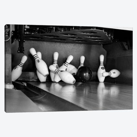 1960s Close-Up Of Bowling Ball Hitting Pins I Canvas Print #VTG416} by Vintage Images Canvas Art