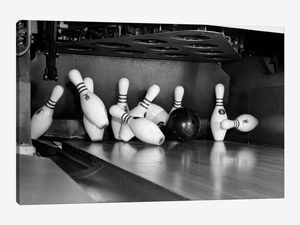 1960s Close-Up Of Bowling Ball Hitting Pins I 1-piece Canvas Artwork