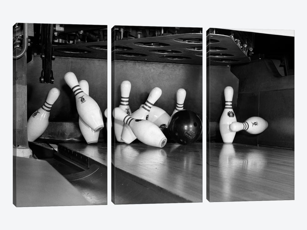 1960s Close-Up Of Bowling Ball Hitting Pins I 3-piece Canvas Art
