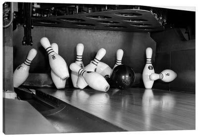 1960s Close-Up Of Bowling Ball Hitting Pins I Canvas Art Print
