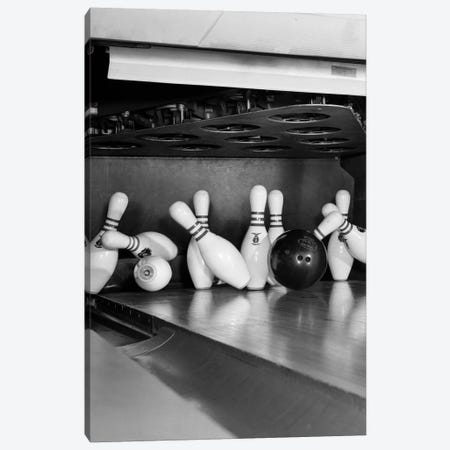 1960s Close-Up Of Bowling Ball Hitting Pins II Canvas Print #VTG417} by Vintage Images Canvas Artwork