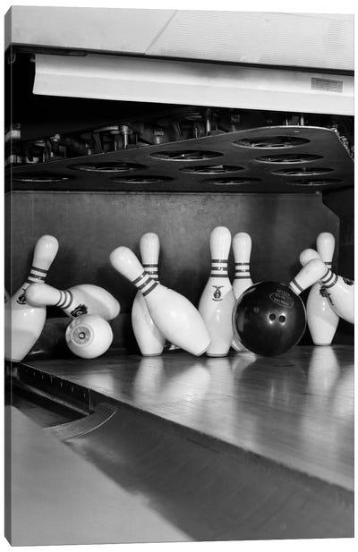 1960s Close-Up Of Bowling Ball Hitting Pins II Canvas Art Print