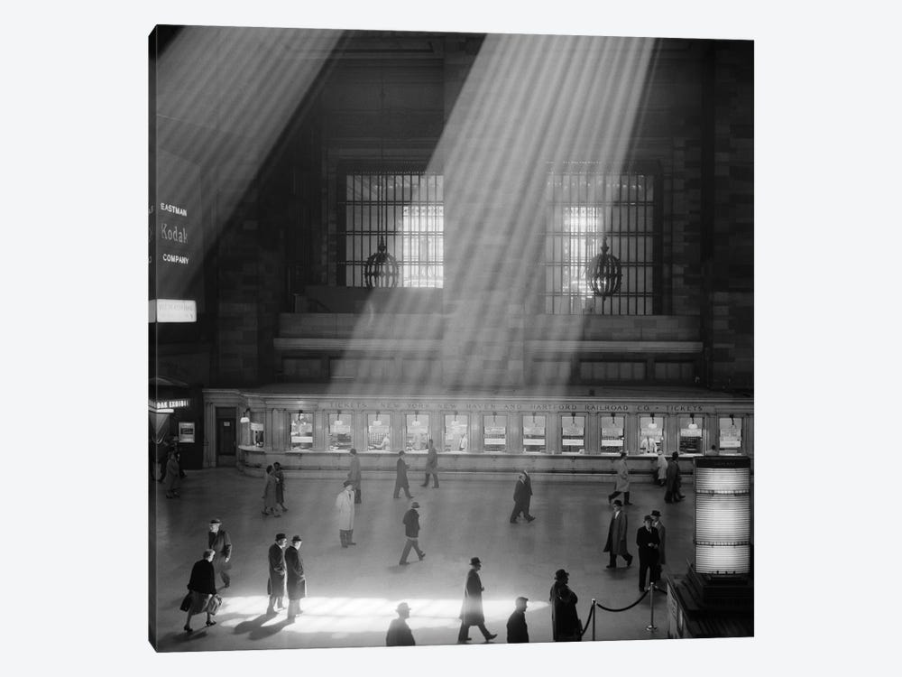 1960s Crowd Walking Through Sunbeams In The Magnificent Dramatic Poetic Cavernous Atrium Of Grand Central Station NYC USA by Vintage Images 1-piece Canvas Artwork