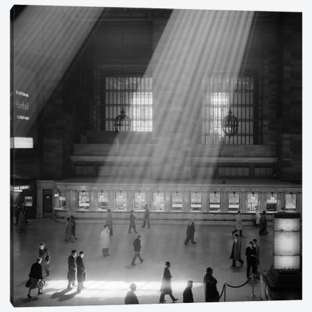 1960s Crowd Walking Through Sunbeams In The Magnificent Dramatic Poetic Cavernous Atrium Of Grand Central Station NYC USA Canvas Print #VTG418} by Vintage Images Canvas Art Print
