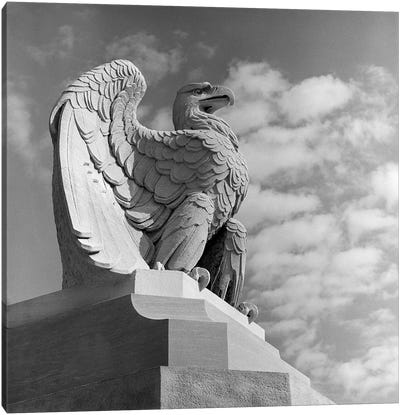 1960s Eagle Statue Against Sky Clouds Wings Spread Feathers Talons Curled Over Edge Of Base Philadelphia 30th Street Canvas Art Print
