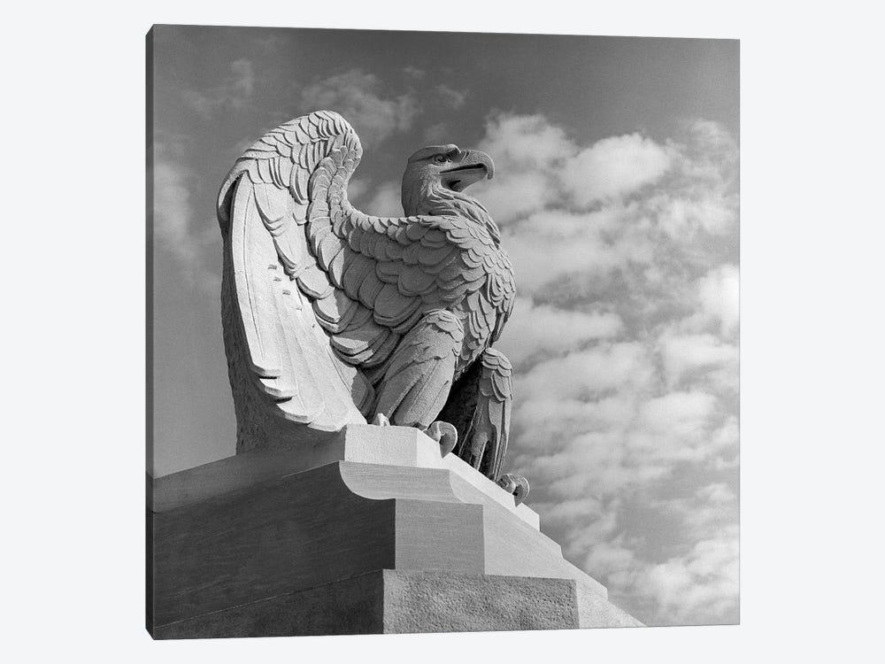 1960s Eagle Statue Against Sky Clouds Wings Spread Feathers Talons Curled Over Edge Of Base Philadelphia 30th Street by Vintage Images 1-piece Canvas Print