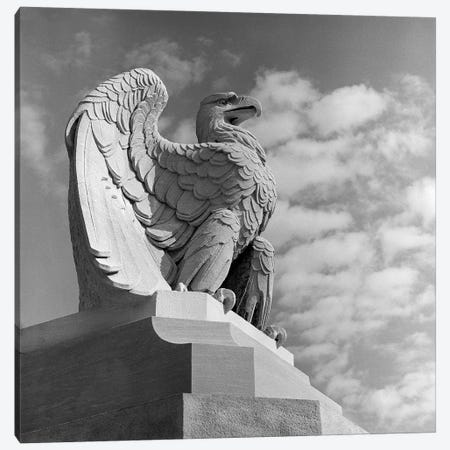 1960s Eagle Statue Against Sky Clouds Wings Spread Feathers Talons Curled Over Edge Of Base Philadelphia 30th Street 3-Piece Canvas #VTG420} by Vintage Images Canvas Art