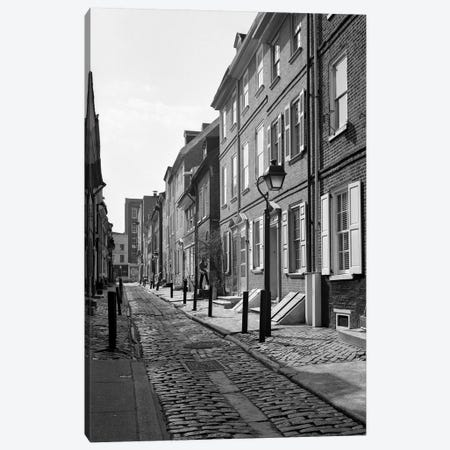1960s Elfreth's Alley A Narrow Colonial Belgian Block Street Lined With Quaint Row Homes Philadelphia Pennsylvania USA Canvas Print #VTG421} by Vintage Images Canvas Wall Art