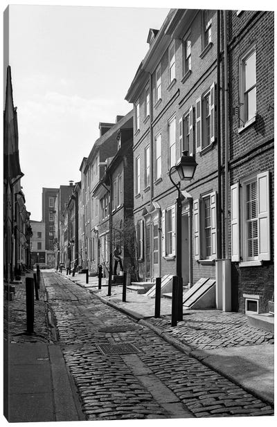 1960s Elfreth's Alley A Narrow Colonial Belgian Block Street Lined With Quaint Row Homes Philadelphia Pennsylvania USA Canvas Art Print