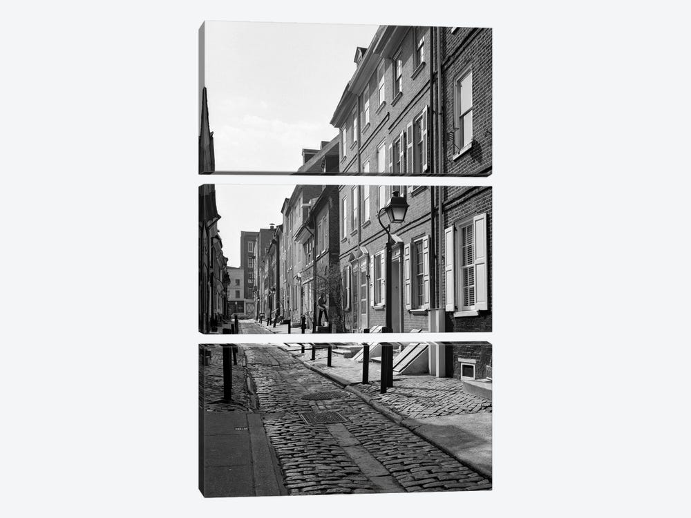1960s Elfreth's Alley A Narrow Colonial Belgian Block Street Lined With Quaint Row Homes Philadelphia Pennsylvania USA by Vintage Images 3-piece Canvas Wall Art