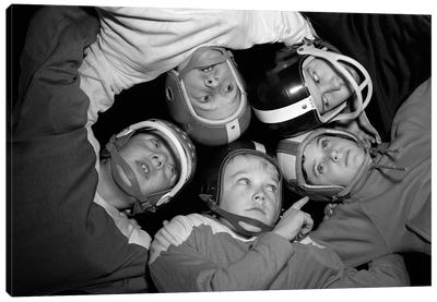 1960s Five Boys In Huddle Wearing Helmets & Football Jerseys The View Is From Inside The Huddle Looking Up Canvas Art Print
