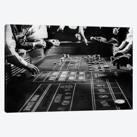 1960s Four Anonymous Unidentified People Gambling Casino Craps Canvas Print #VTG423} by Vintage Images Canvas Artwork