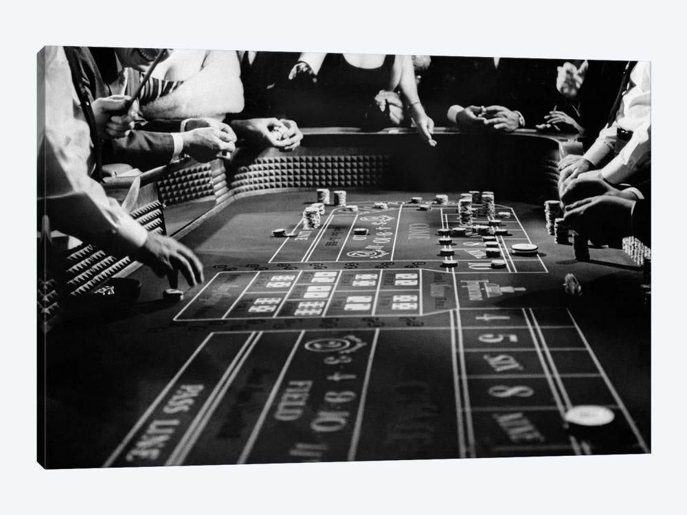 1960s Four Anonymous Unidentified People Gambling Casino Craps by Vintage Images 1-piece Canvas Wall Art
