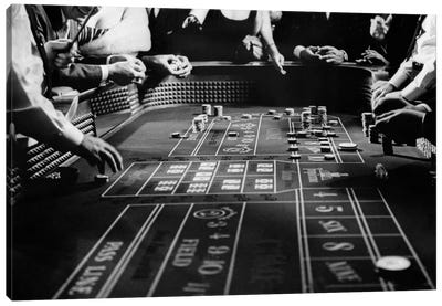 1960s Four Anonymous Unidentified People Gambling Casino Craps Canvas Art Print