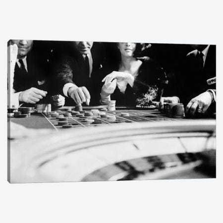 1960s Four Anonymous Unidentified People Gambling Casino Roulette Canvas Print #VTG424} by Vintage Images Canvas Print