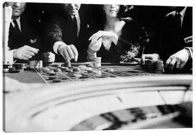 1960s Four Anonymous Unidentified People Gambling Casino Roulette Canvas Art Print