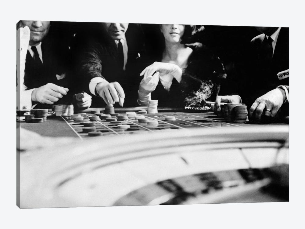 1960s Four Anonymous Unidentified People Gambling Casino Roulette by Vintage Images 1-piece Canvas Art Print