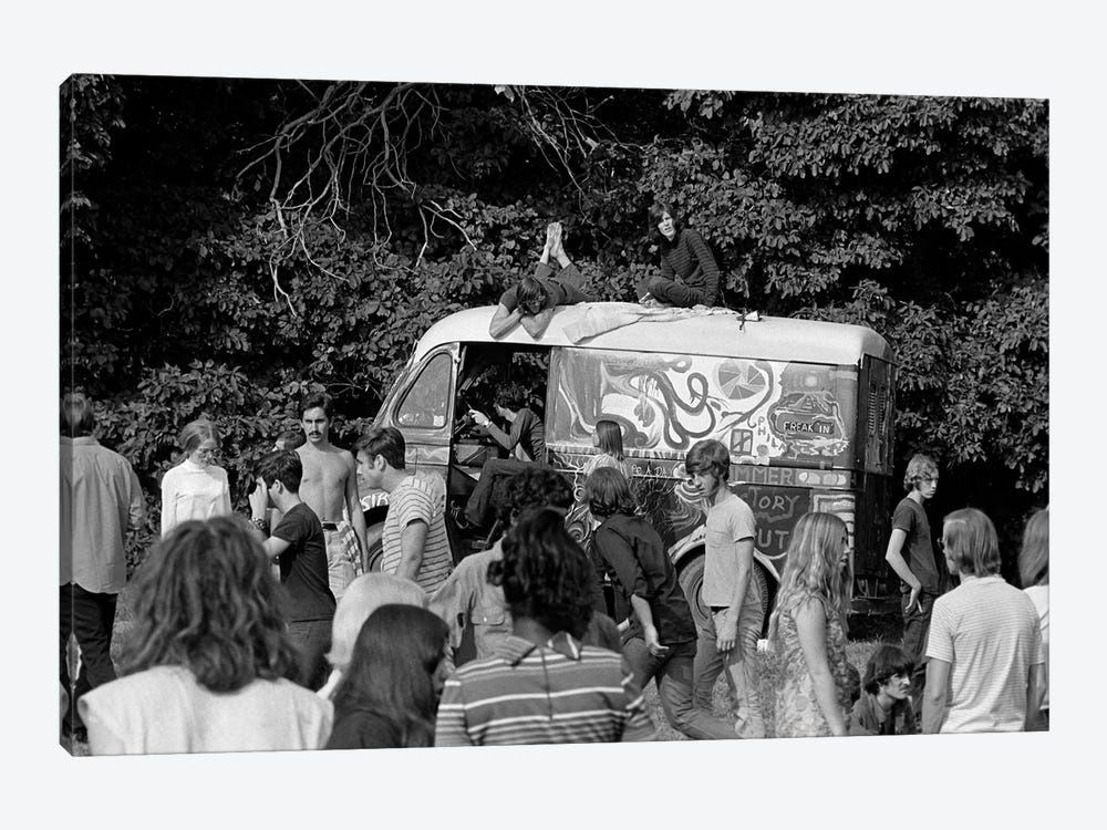 1960s Gathering Of Hippie Kids In Woods With Psychedelic Painted Van In Background by Vintage Images 1-piece Canvas Artwork