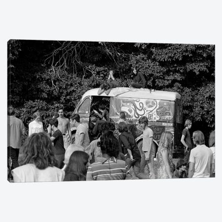 1960s Gathering Of Hippie Kids In Woods With Psychedelic Painted Van In Background Canvas Print #VTG425} by Vintage Images Art Print