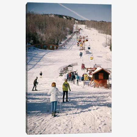 1960s Group Of People Men Women At Bottom Of Slope Going To Get On Ski Lift Skis Skiing Mountain Resort Canvas Print #VTG426} by Vintage Images Art Print