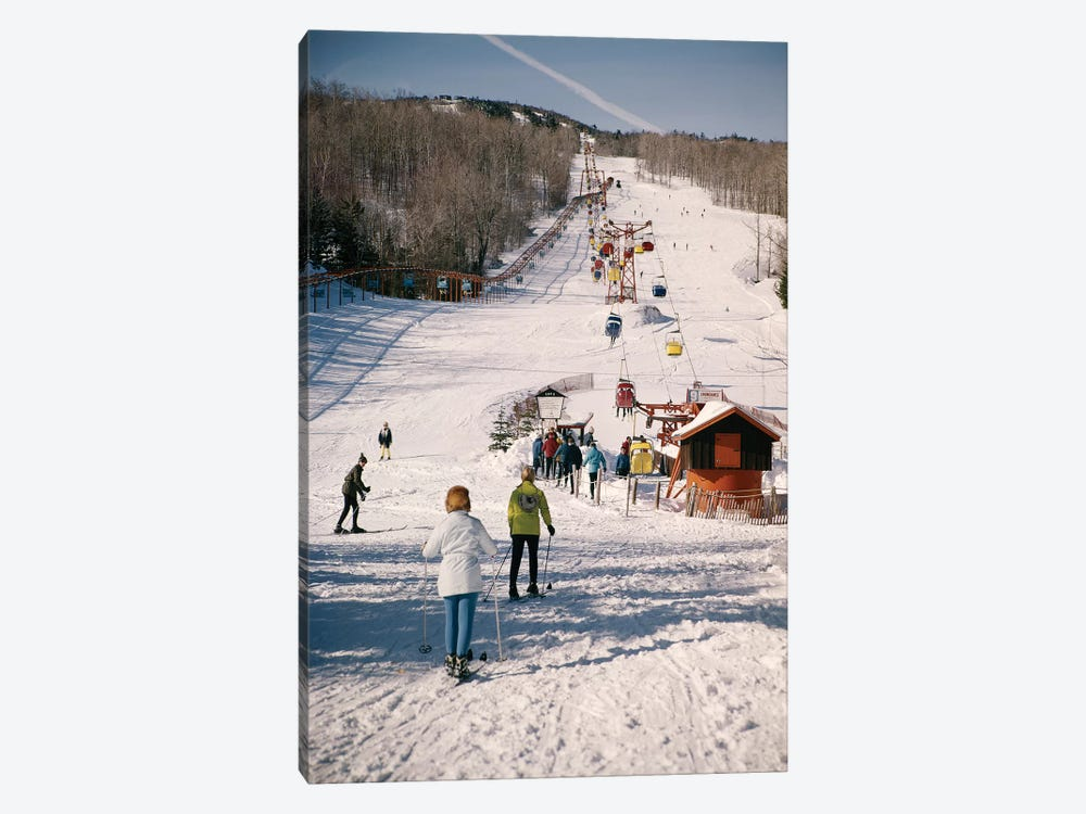 1960s Group Of People Men Women At Bottom Of Slope Going To Get On Ski Lift Skis Skiing Mountain Resort by Vintage Images 1-piece Canvas Art Print