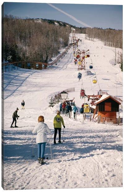 1960s Group Of People Men Women At Bottom Of Slope Going To Get On Ski Lift Skis Skiing Mountain Resort Canvas Art Print