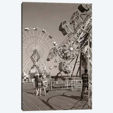 1960s Group Of Teens Looking At Amusement Rides On Pier Canvas Print #VTG427} by Vintage Images Canvas Art Print