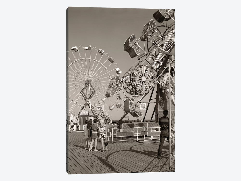 1960s Group Of Teens Looking At Amusement Rides On Pier by Vintage Images 1-piece Canvas Artwork